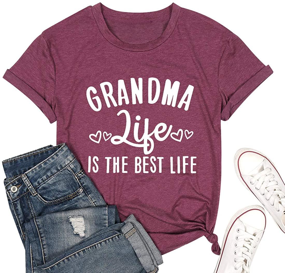 Grandma Shirts for Women Funny Letter Print Grandmother Short Sleeve Tees Tops