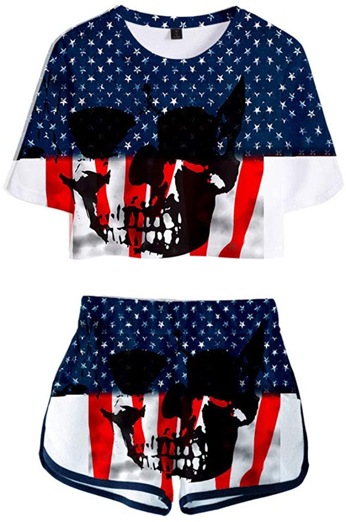 Memoryee Fashion 3D Digital Independence Day Print Crop Top T-Shirts and Shorts Clothes Set Two Piece Suit