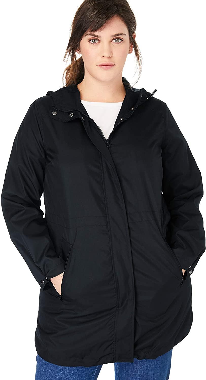 Woman Within Women's Plus Size Packable Anorak Raincoat Jacket