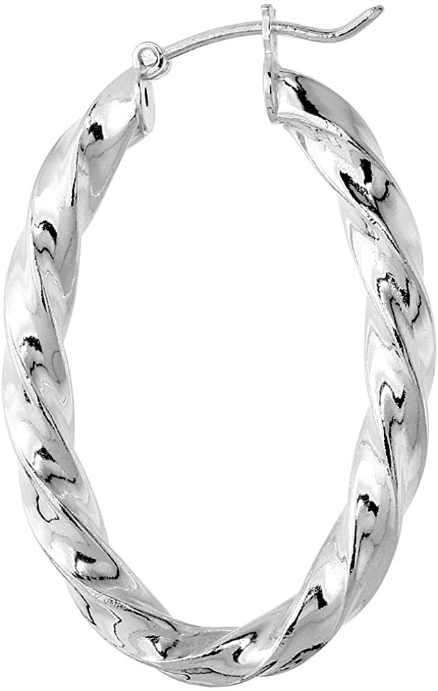 4mm Sterling Silver Square Tube Twisted Hoop Earrings for Women Click Top Assorted Sizes Italy