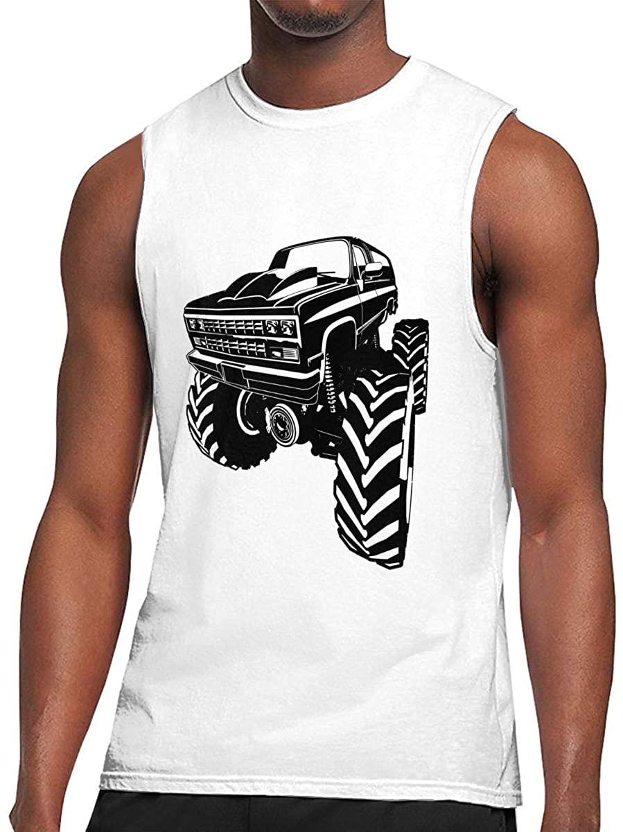 Monster Truck 1 Mens Sports Round Neck Sleeveless Shirts Running Vest