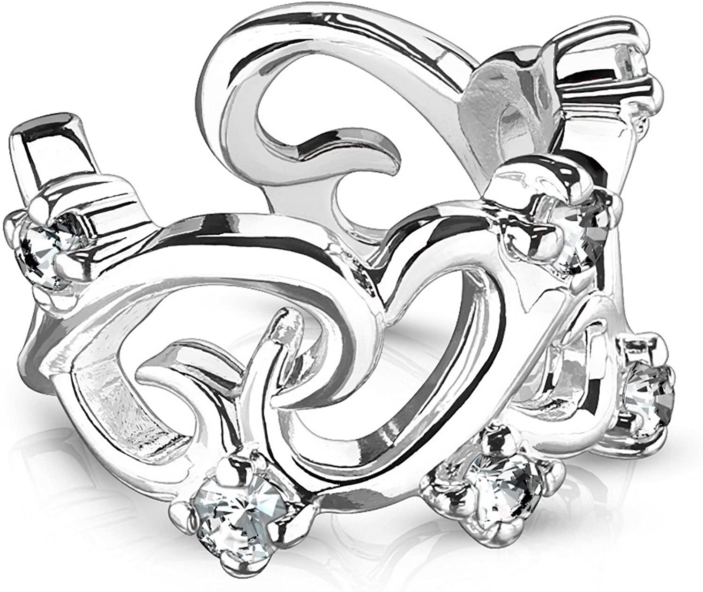 Filigree CZ Hearts Brass Ear Cuff Non-Piercing Cartilage Jewelry