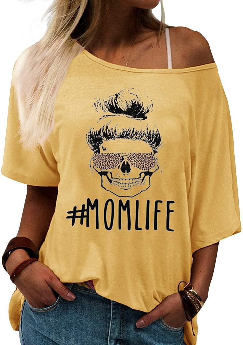 HDLTE Womens Mom Life Shirt Funny Graphic Skull Leopard Print Sunglasses Off Shoulder Bat Sleeve Tops
