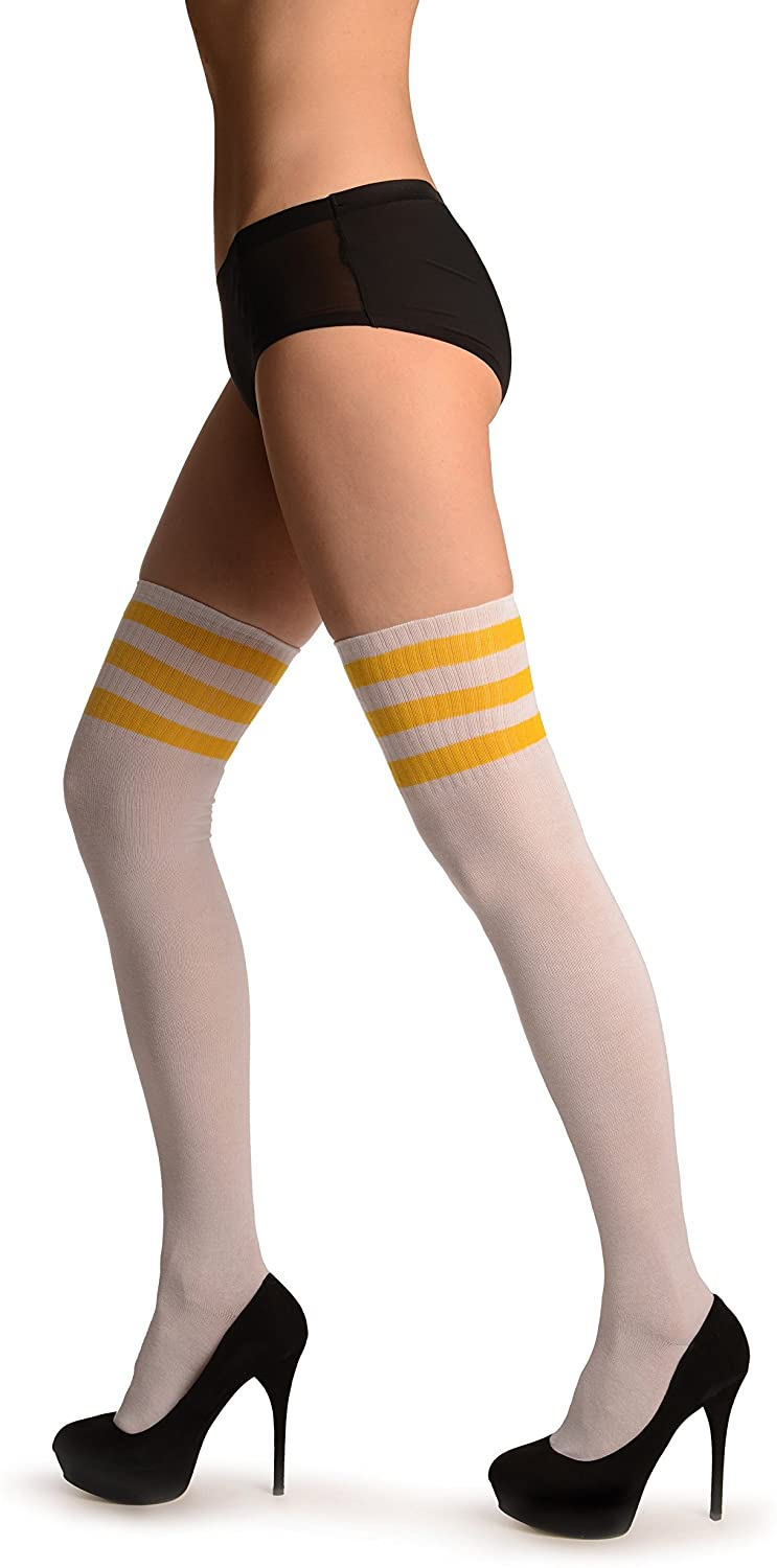 Yellow Stripes On White (Referee) - Over The Knee Socks