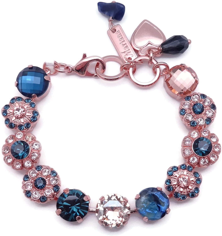 Mariana Ocean Swarovski Crystal Rose Goldtone Bracelet Dark Blue & Peach Mix Flower Mosaic 2142