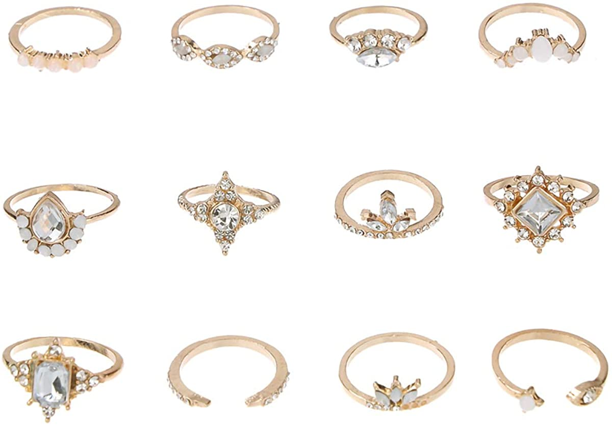 JXVLUYE Midi Rings Rhinestone Joint Knuckle Stacking Multi Size Comfort Fit Boho Vintage Gold Ring Set for Women Girl
