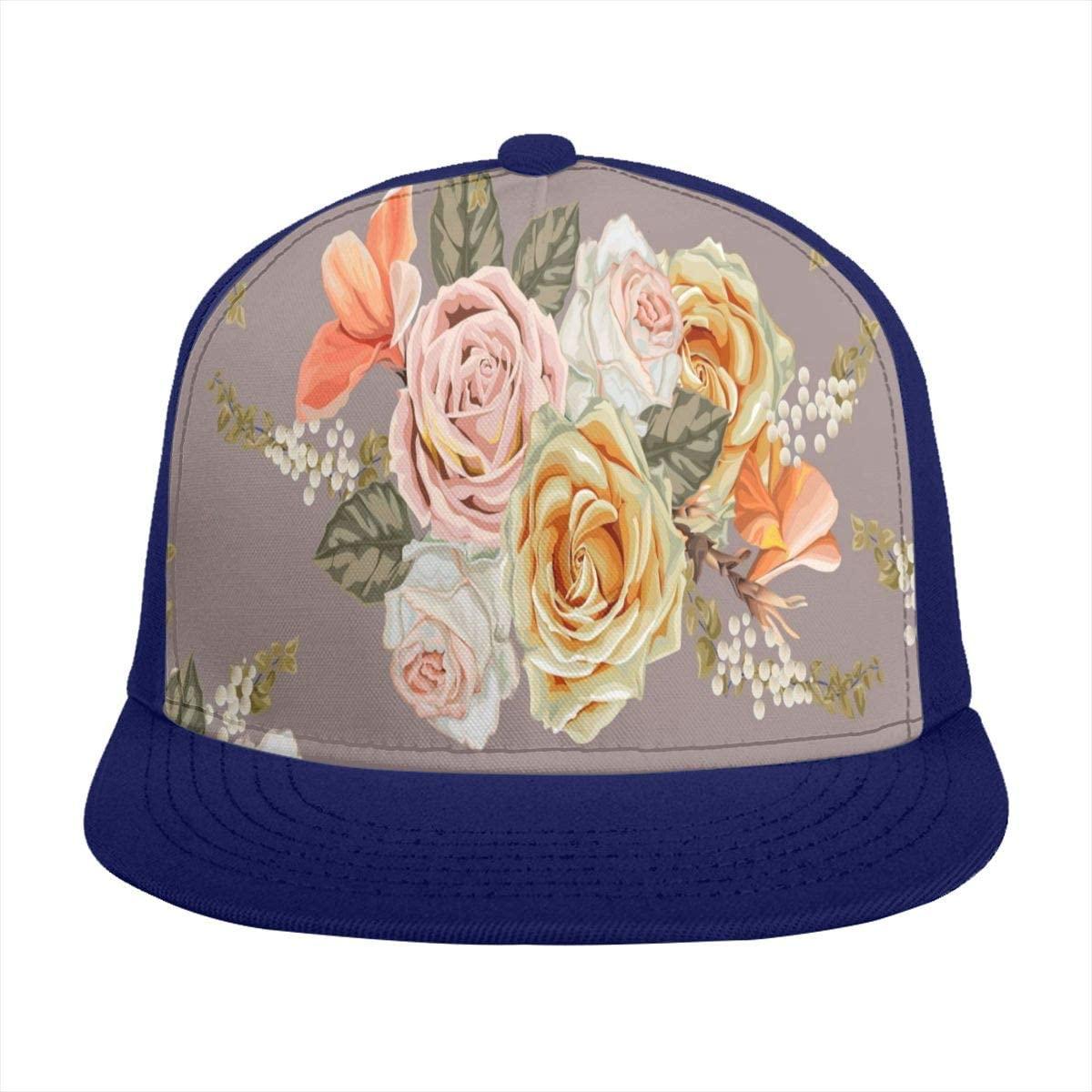 Baseball Cap Retro Rose Flower Floral Brown Sun Visor Flat Brim Hats Cap for Women Men Summer