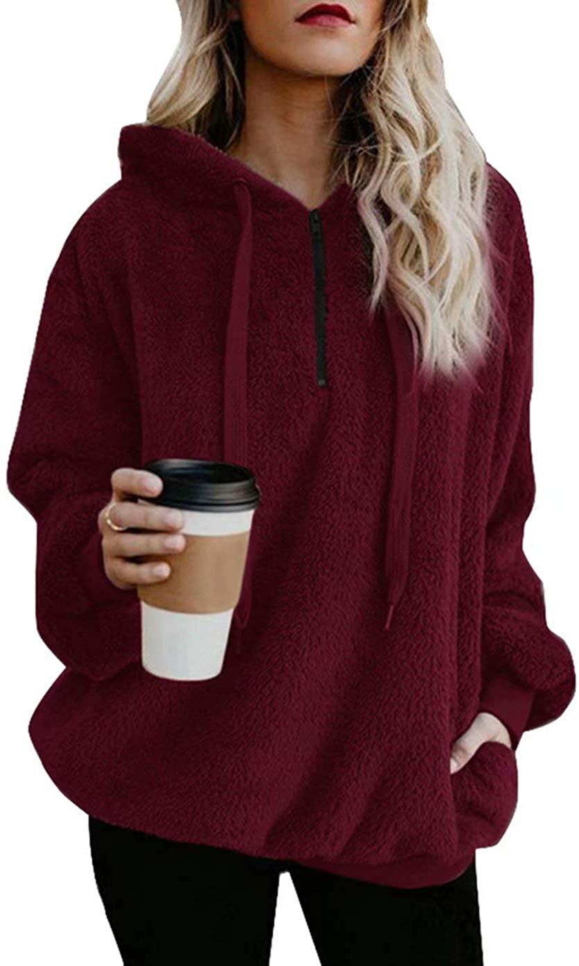 Adogirl Womens Sherpa Pullover Fleece Hoodies Sweatshirt Coat with Hood Pockets