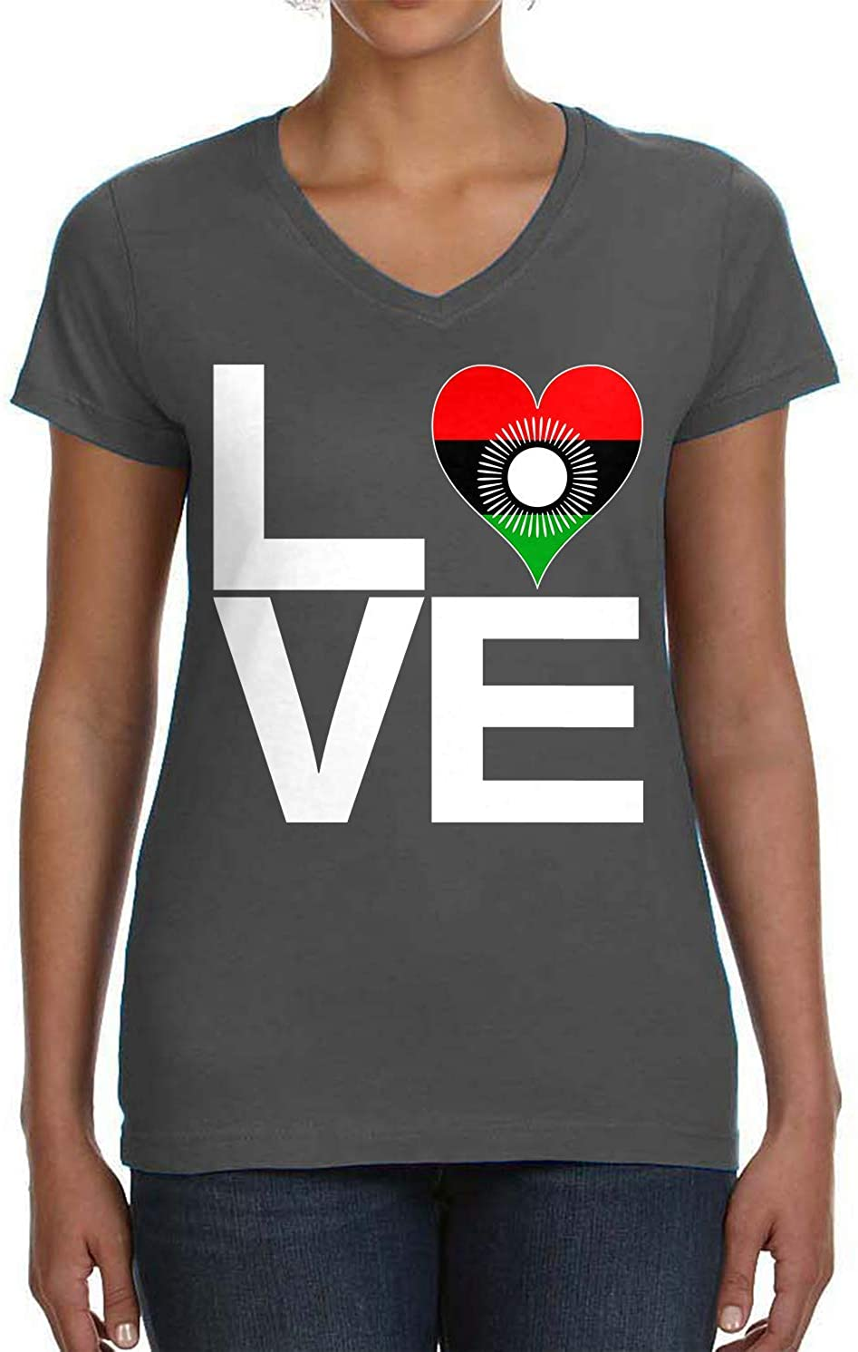 Tenacitee Womens Love Block Malawi Heart V-Neck T-Shirt