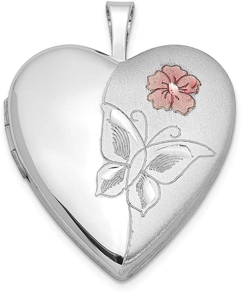 Beautiful Sterling silver 925 sterling Sterling Silver Rhodium-plated Enameled Flower Butterfly Heart Locket