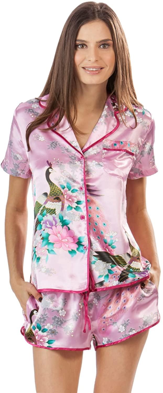 Ashford & Brooks Women's Satin Short Sleeve Pajama Shorts Set