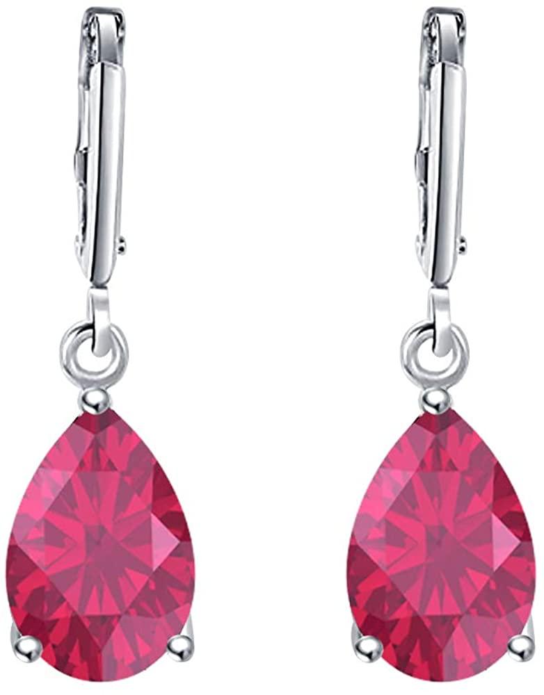 Dabangjewels Wonderful 6x8mm Pear Cut Ruby Over .925 Sterling Silver Fancy Party Wear Dangle Clip-On Earrings For Women