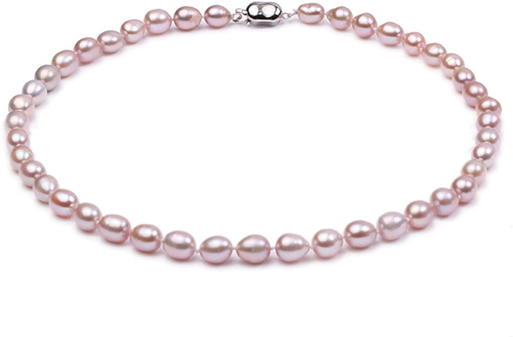 JYX 7-8mm Lavender Oval Freshwater Pearl Necklace