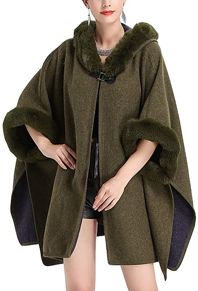 Michealboy Women Winter Warm Bridal Faux Fur Long Shawl Wraps Cloak Coat Sweater Cape Party