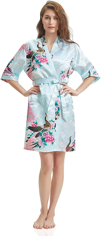 J.ROBE Women's Printing Lotus Kimono Robe Short Sleeve Silk Bridal Robe