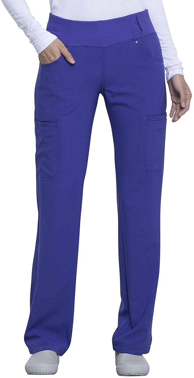 CHEROKEE iflex Mid Rise Straight Leg Pull-on Pant, CK002, S, Violet Nouveaux