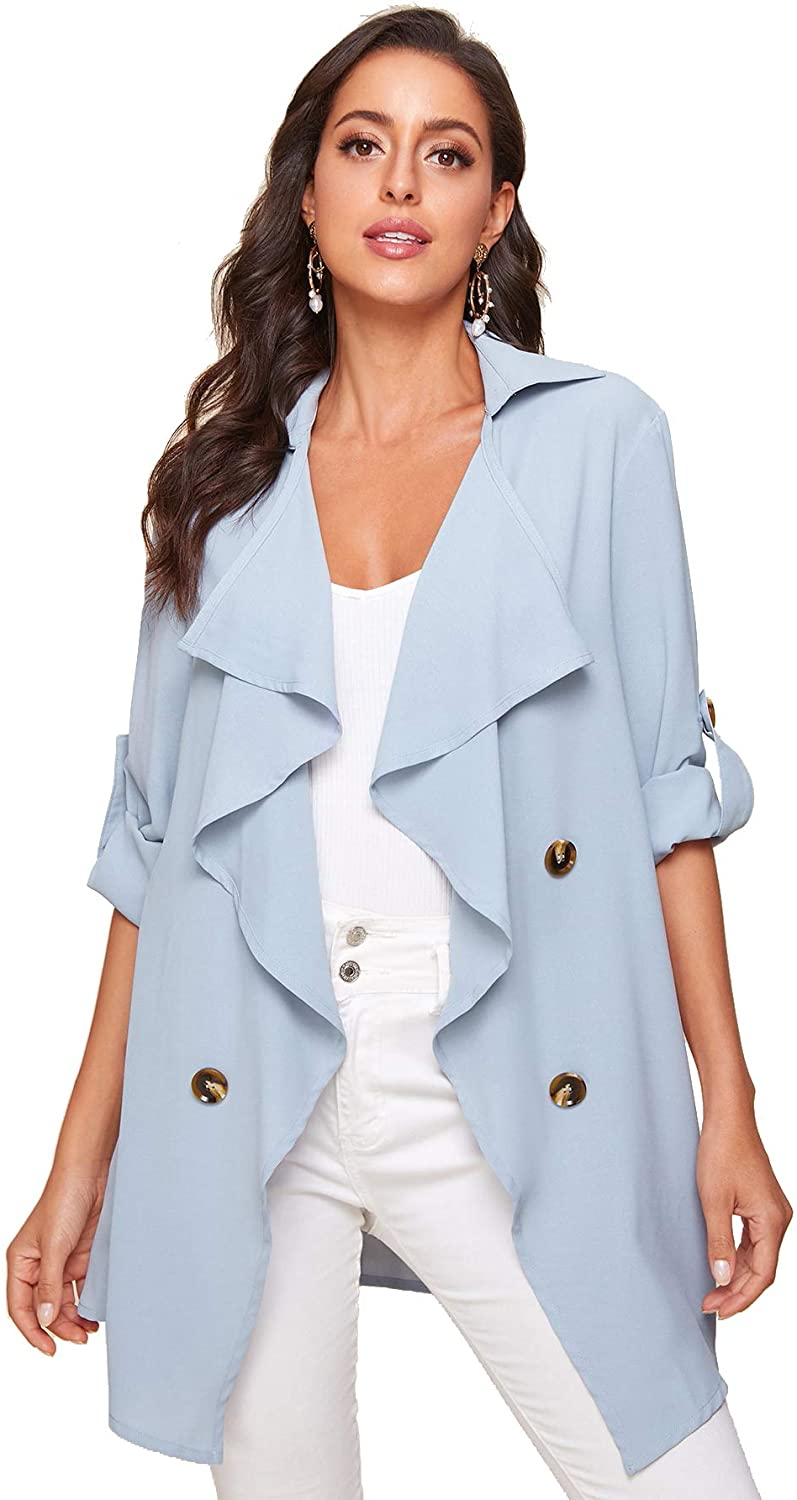 Verdusa Women's Casual Waterfall Roll Up Sleeve Buttoned Front Duster Coat Outerwear