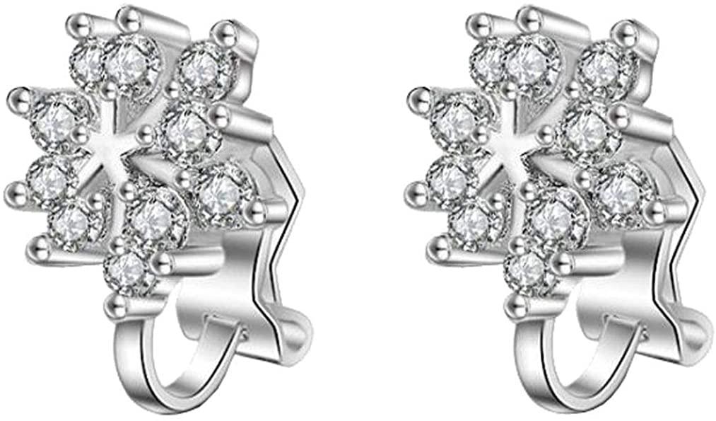 Fashion Clip on Fishhook Earrings Simple Small Flower Cubic Zirconia Non Pierced U Clips for Girl Women