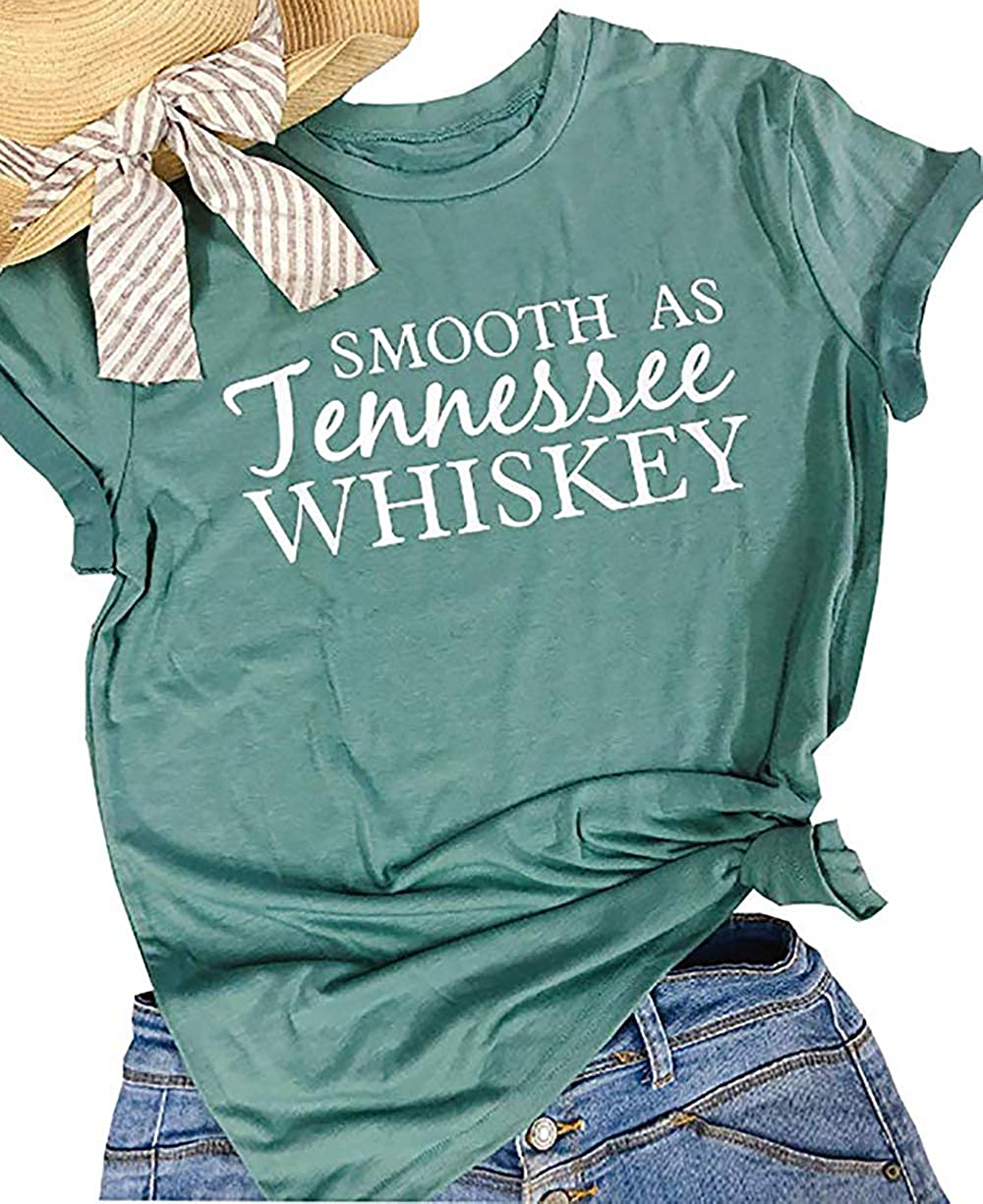 Smooth as Tennessee Whiskey T Shirt Women Drinking Graphic Cute Funny Shirt Tees Letter Print ummer Casual Shirts Tops