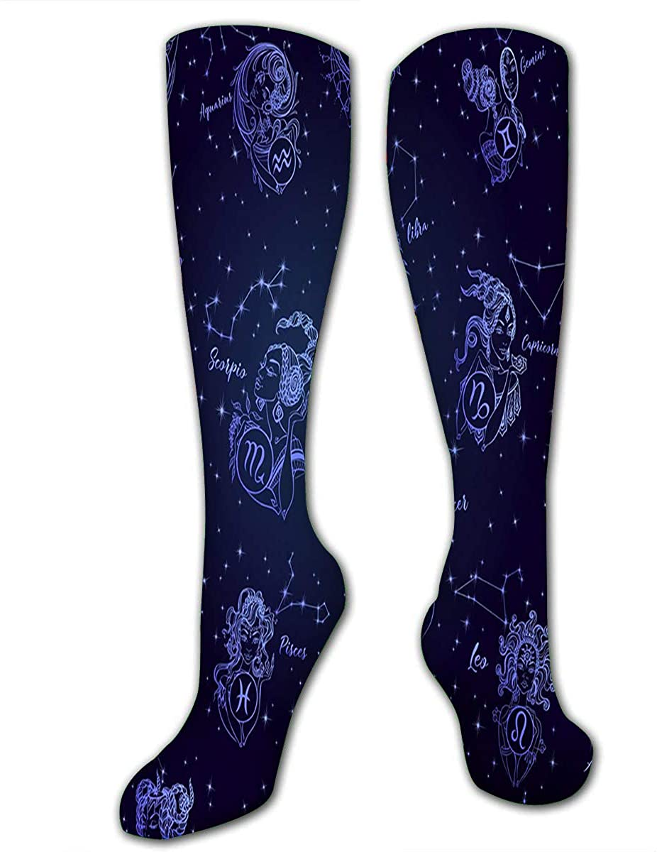 Randell Knee High Socks Long Athletic Sport Socks Zodiac Sign Astrological Horoscope Collection