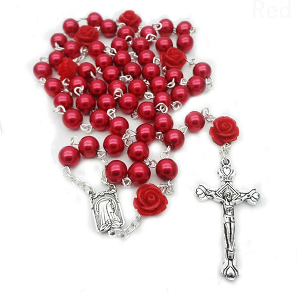 n a Vintage Religious White Simulated Pearl Beads Red Rose Catholic Rosary Necklace Women Long Strand Necklaces Jesus Jewelry Gift