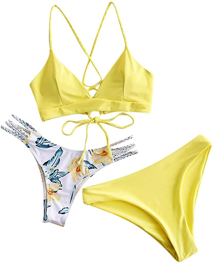 Holzkary Women Swimwear Adjustable Back Criss-Cross Braided Spaghetti Strap Bikini Flower Bathing Suit