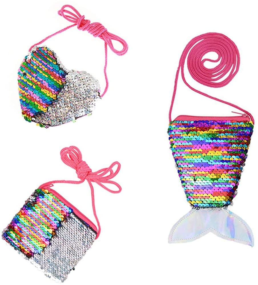 Shuxy 3PCS Mermaid Tail Coin Purse Sequin Wallet Bag Mini Bling Wallet Glitter Heart Reversible Crossbody for Little Girl Toddler Shoulder Bag Satchel Mermaid Party Supplies Birthday Christmas Gift