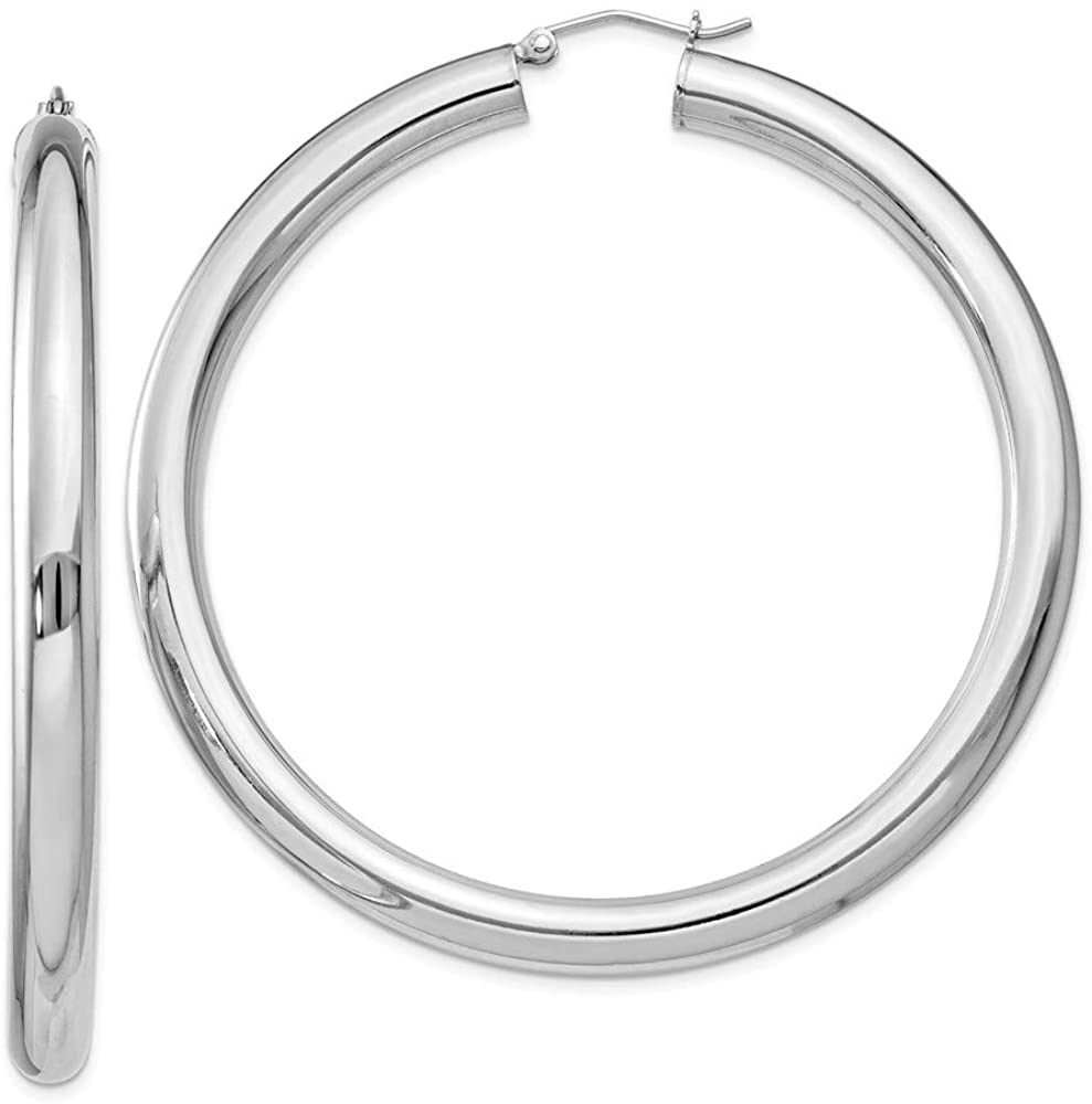 925 Sterling Silver 5.00mm Polished Hoop Classic Loop Plain Tube Earrings (62mm x 60mm)
