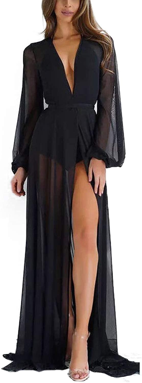 Robe Longerie Swimsuit Cover Paris- Custom Long Robe with Train Chiffon Elegant Robe Dressing Gown
