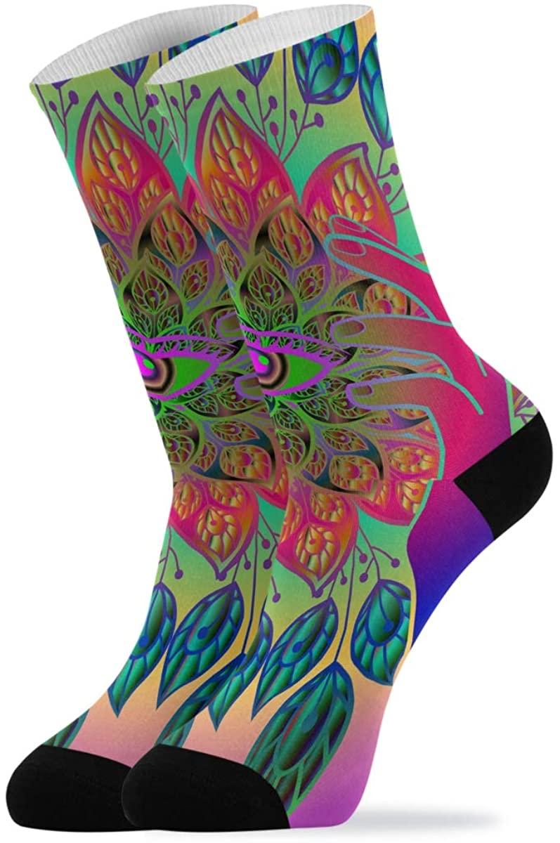 Quarter Socks Butterflies Roses With Glowing Firework And Sparkle Stars Crew Socks Mid Calf High Socks Women Men Dress Socks