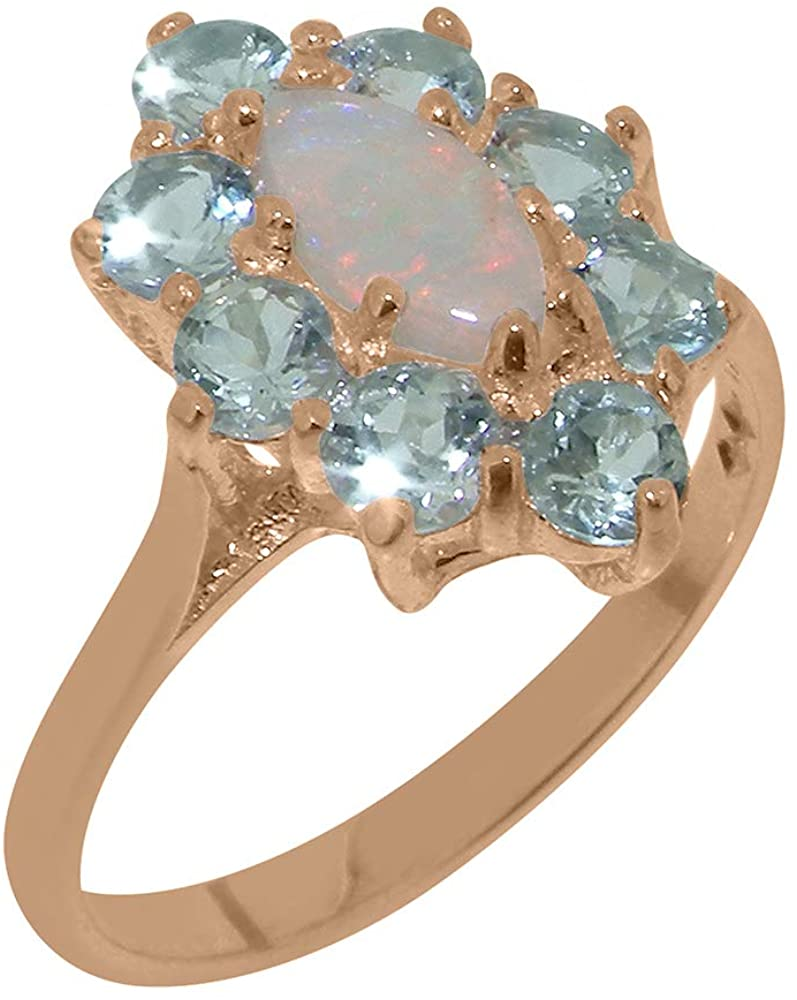9k Rose Gold Natural Opal & Aquamarine Womens Promise Ring - Size 7.75