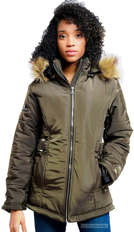 FLIRTY WARDROBE Hooded Parka Jacket Coat Collared Padded Faux Fur Winter Zip Up Jacket Womens[S,Khaki]