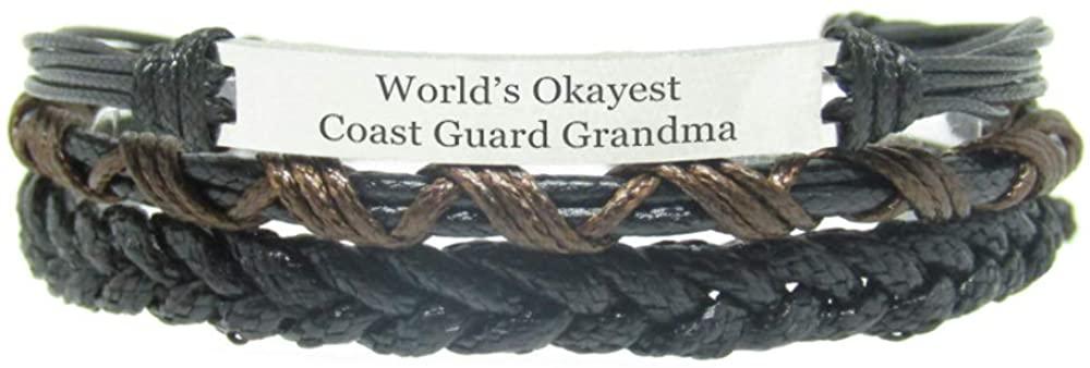 Miiras Family Engraved Handmade Bracelet - World's Okayest Coast Guard Grandma - Black 4 - Made of Braided Rope and Stainless Steel - Gift for Coast Guard Grandma
