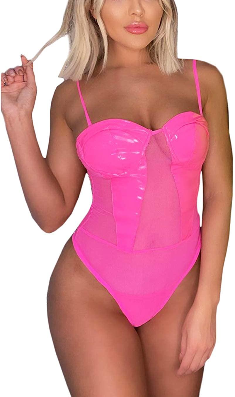 Women Neon One Piece Swimsuit Vinyl Mesh Corset Bodysuitfor Raves Festivals Club