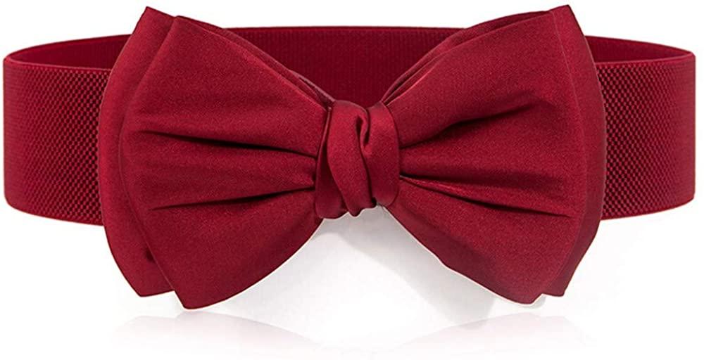 Unisex belt elegant bow dress decorative belt chiffon elastic elastic wide waist seal size optional