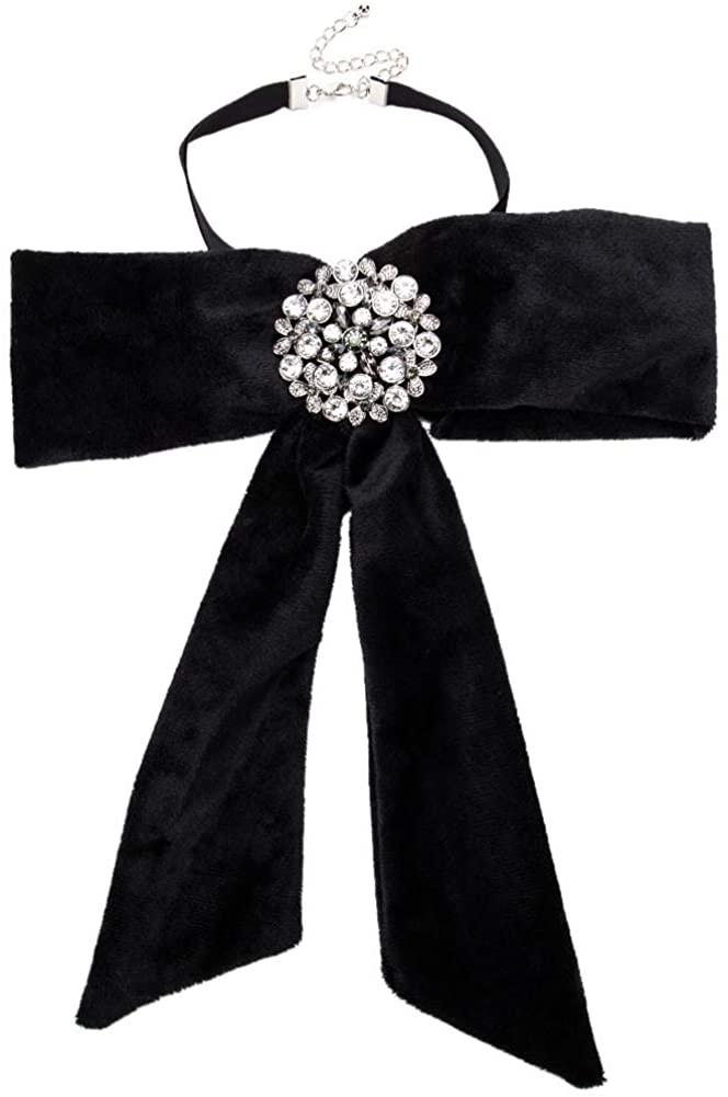 YAZILIND Exaggerated Velvet Bow Flower Rhinestone Collar Bohemian Neck Necklace