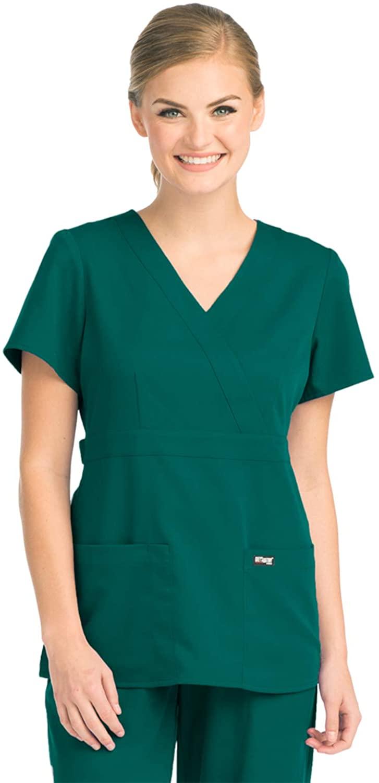 Grey's Anatomy 4153 Women's Mock Wrap Top Hunter Green XL