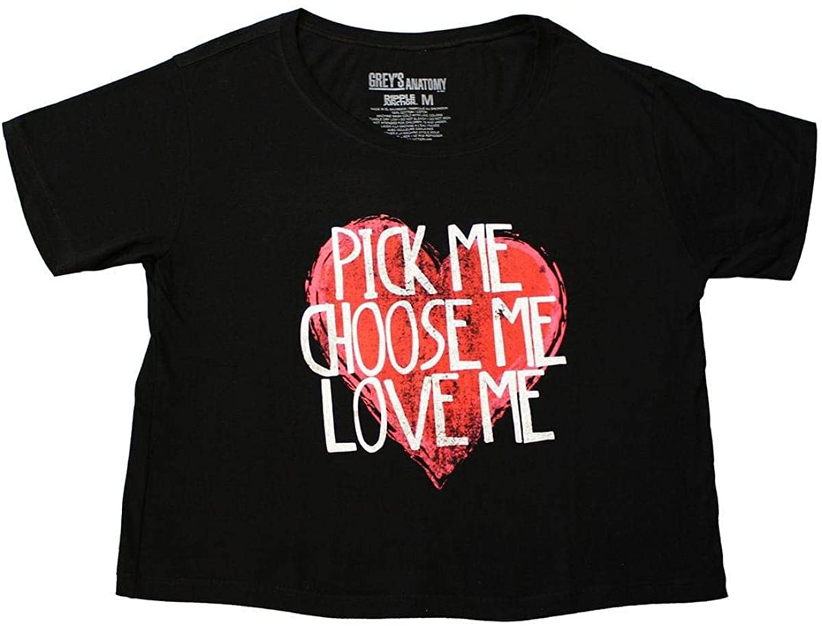 Greys Anatomy Pick Me Women's Black Crop Top - Large
