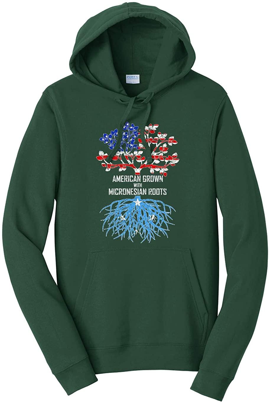 Tenacitee Unisex American Grown with Micronesian Roots Hooded Sweatshirt