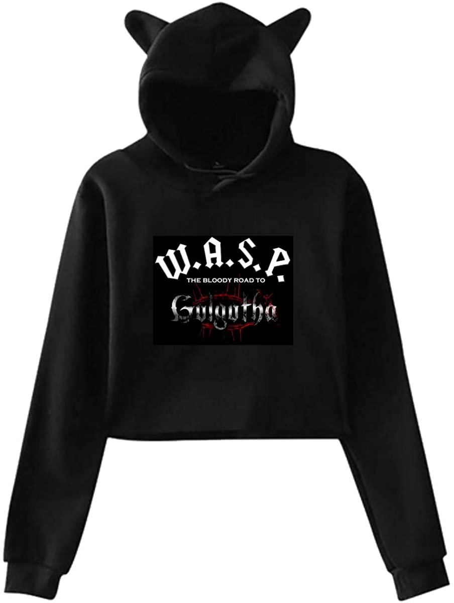 W.A.S.P. Band Cat Ear Hoodie Sweater Hooded Pullover Girls Women Leak Navel Sweatshirt Black XL