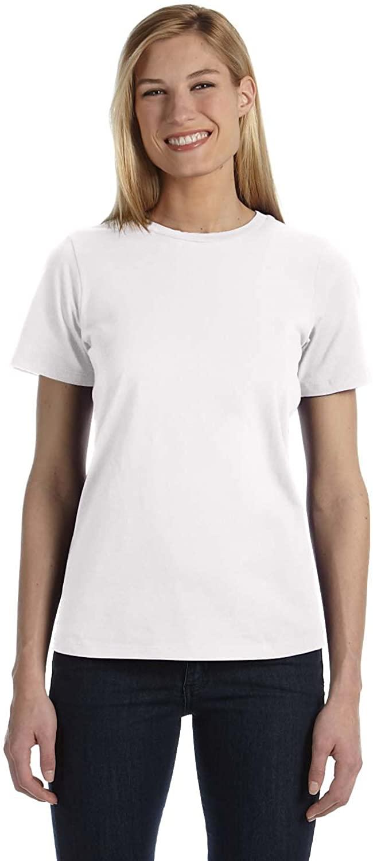 Bella + Canvas 4.2 oz. Missy Short-Sleeve Jersey Crew Neck (B6400) -WHITE -S