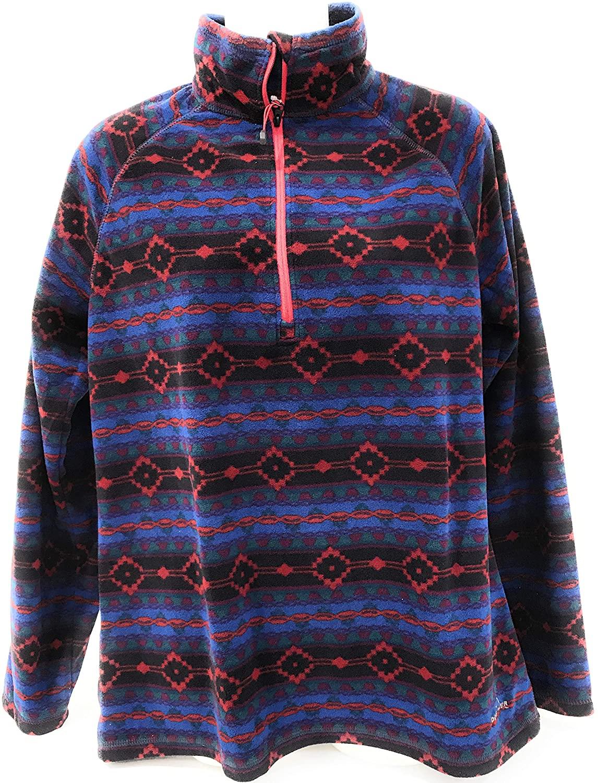 Eddie Bauer Women Quest Fleece 1/4 Zip Top Sweatshirt Jacket (Large, Muti)