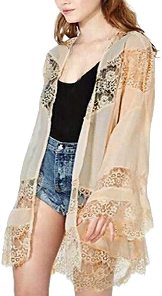 iQKA Women's Plus Size Floral Lace Openwork Stitching Chiffon Cardigan Shawl Tops Bikini Cover Up