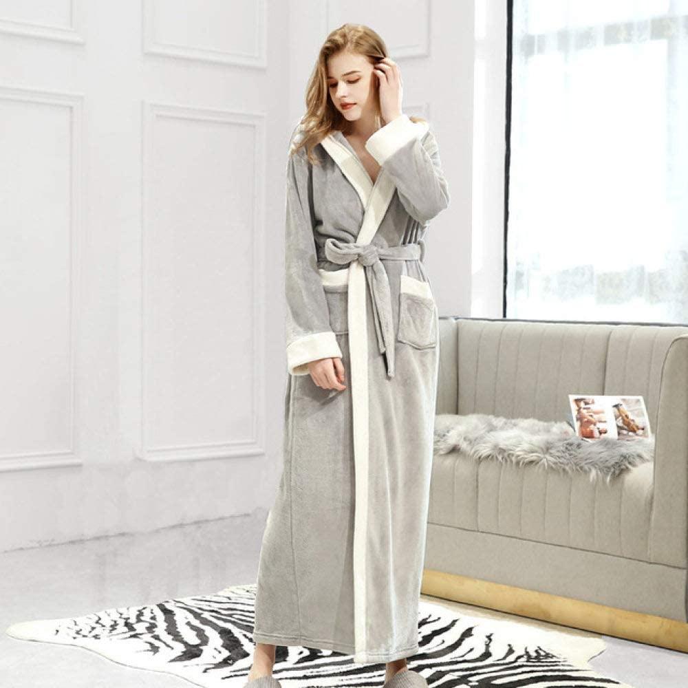 llwannr Winter Robe New Flannel Warm Winter Bathrobe for Men Women Stitching Color Hooded String Long Bath Robe Home Male Dressing Gown,Women Light Gray,L