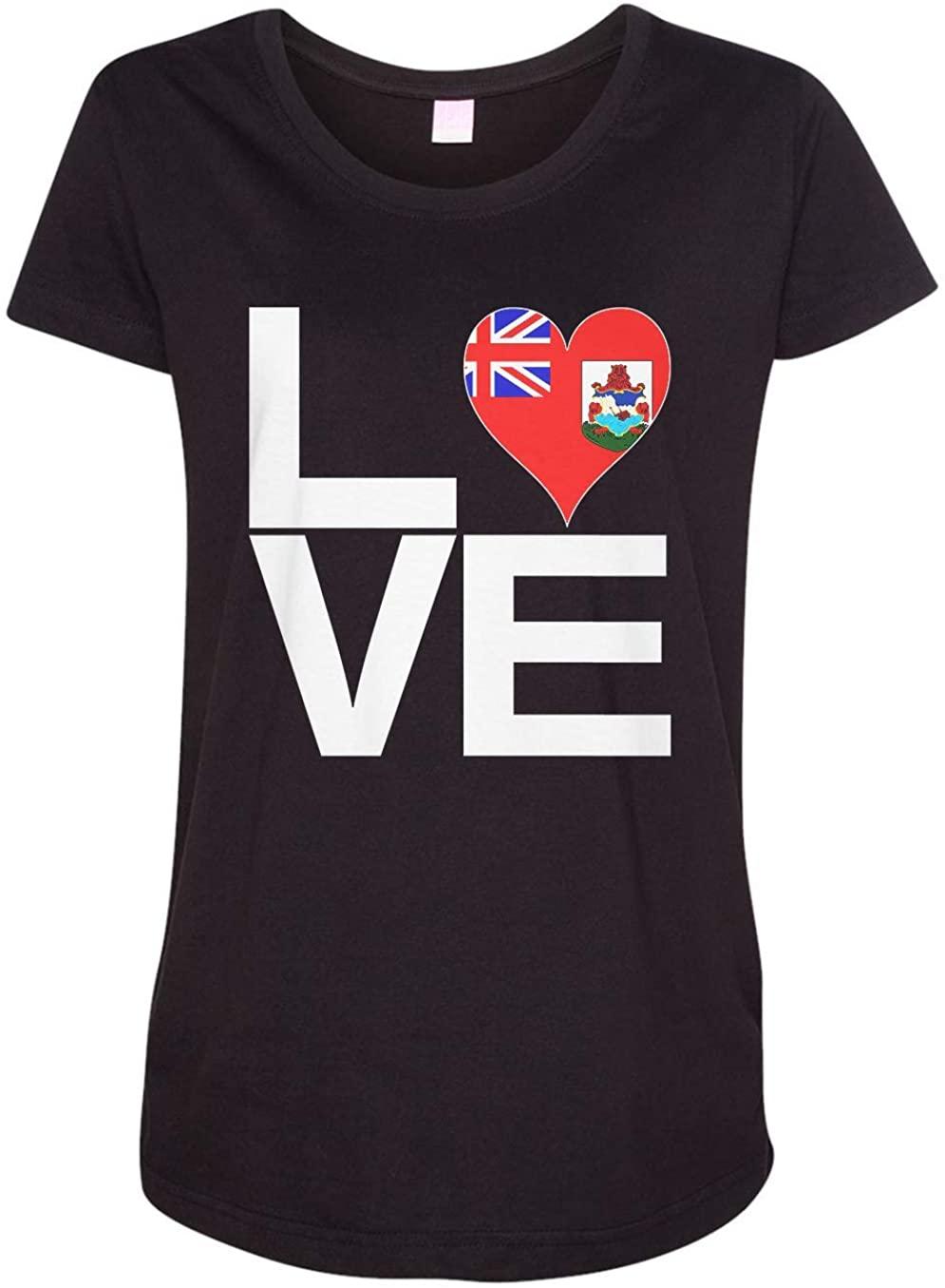 Tenacitee Ladies Love Block Bermuda Heart Maternity Shirt