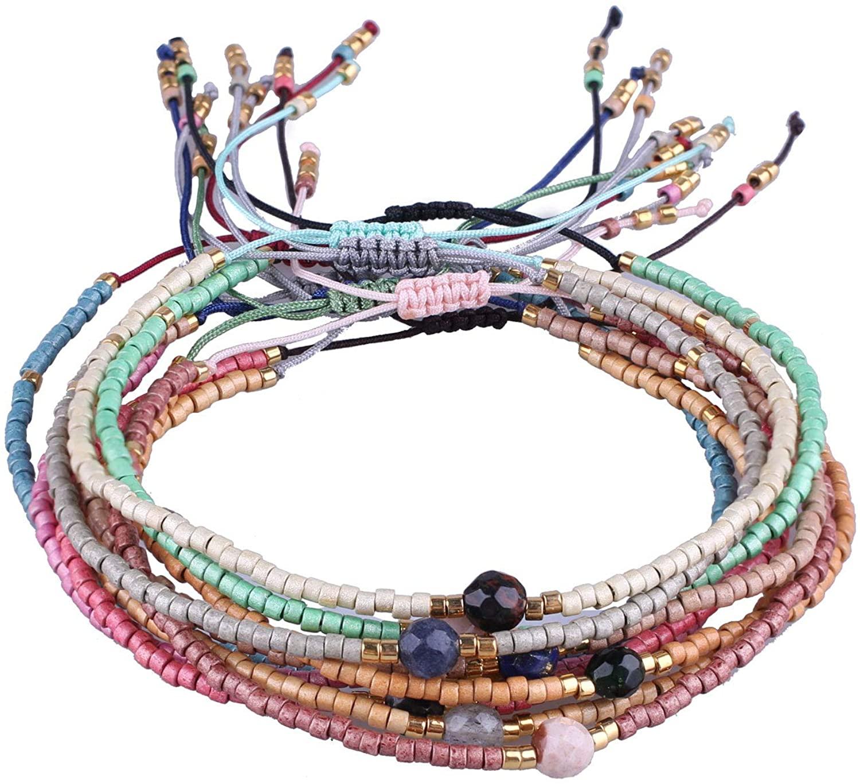 C·QUAN CHI 10 PCS Woven Strand Bracelet for Women String Sead Beaded Wax Rope Braided Adjustable Bracelet Handmade