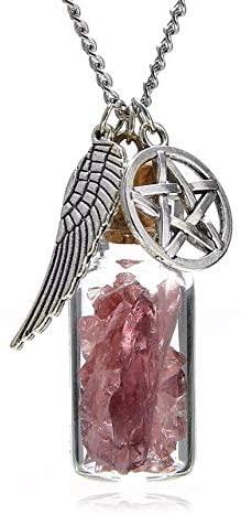 Davitu Retro Angel Wing Pendant Necklaces Davitu Glass Wishing Bottle Protection Chain Necklace Femme Kolye for Women Jewelry - (Metal Color: Purple)