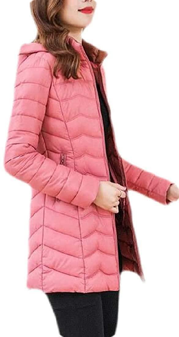 Xudcufyhu Women Winter Zip-Up Hoodies Slim Fit Light Weight Puffer Jacket