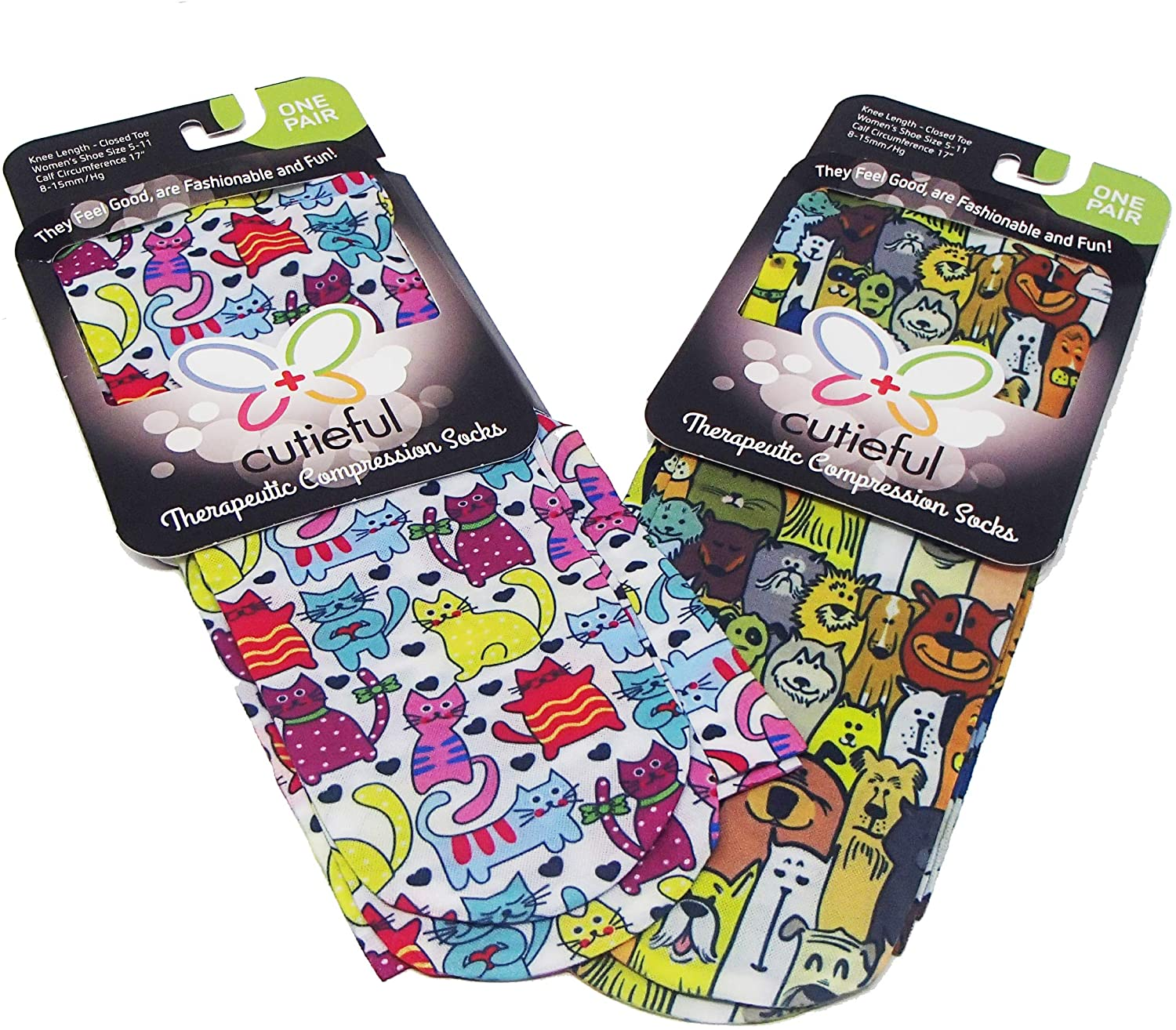 Cutiefuls Therapeutic Compression Socks - Dapper Dogs AND Colorful Cats designs, Womens Shoe Sizes 5-11 Graduated 8-15 mmHg