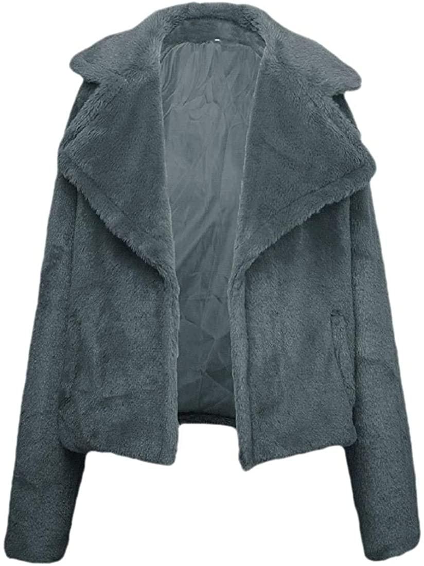 Jhsxydgy Womens Regular-Fit Coats Faux Fluffy Warm Winter Jacket Zip Up Front Open Oversized Fashion Outerwear